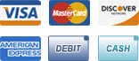 We accept Visa, MasterCard, Discover, American Express, Debit and Cash.